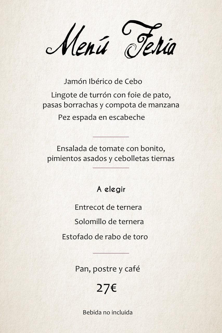 Menú Feria 2019 Restaurante Cuerda restaurantecuerda.com